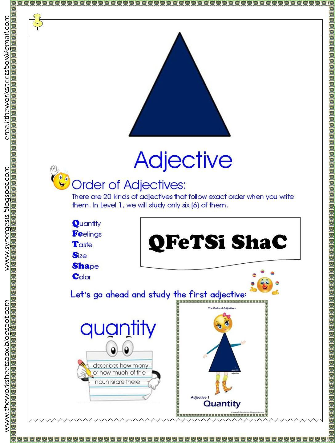 Sample Worksheet For The Adjective Study