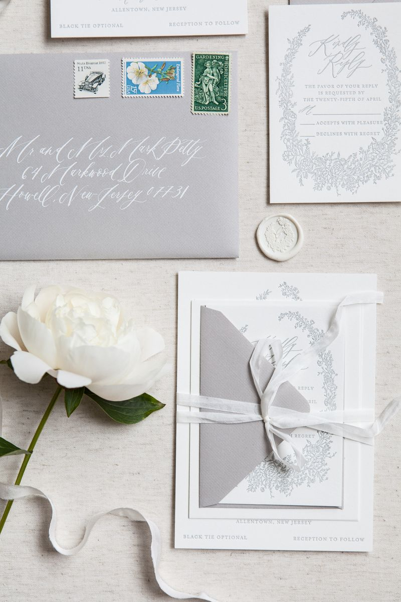 letterpress wedding invites london%0A Gray letterpress invitations   calligraphy invitations   silk ribbons    floral invitation   writtenwordcalligraphy com