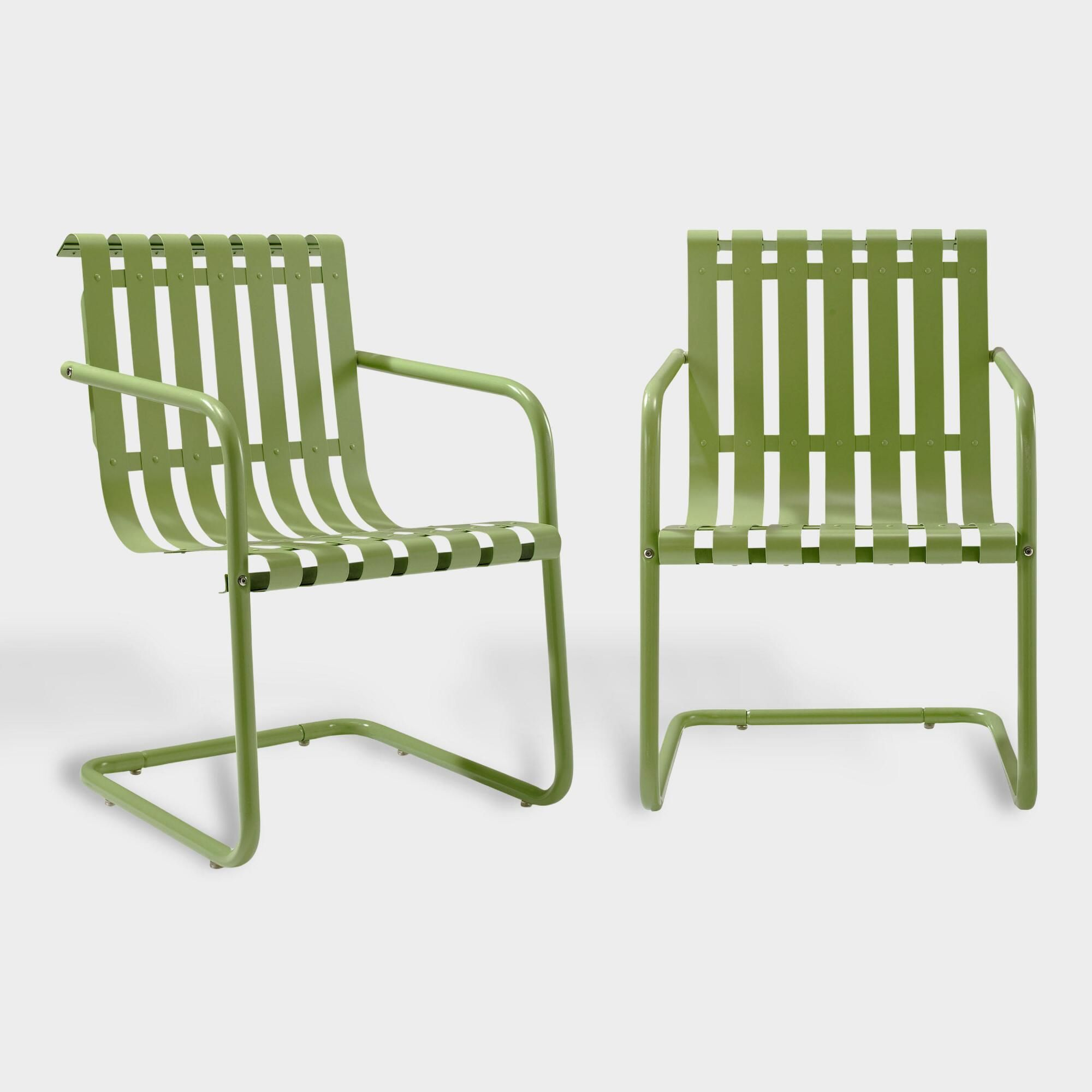 Green Metal Aubrey Outdoor Patio Armchairs Set Of 2 By World Market