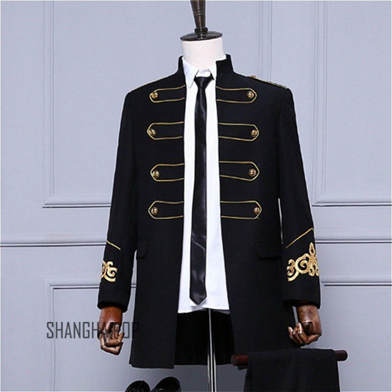 1838482e503 Men Goth Military Drummer Parade Jacket Black Punk Coat Vintage Retro  Steampunk
