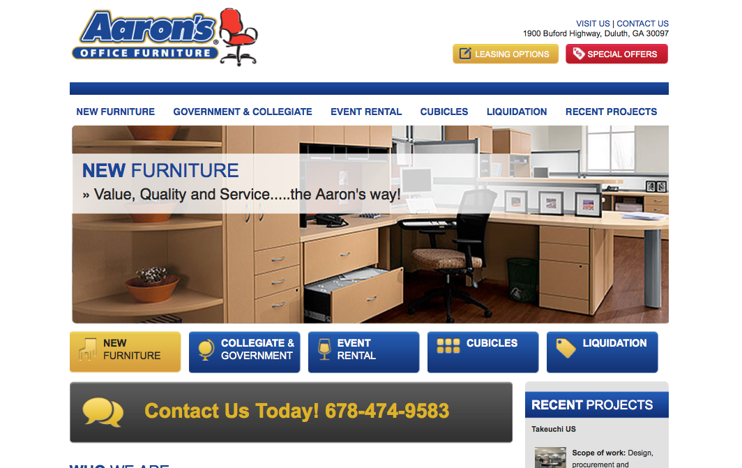 Aaron S Office Furniture Website Design And Net Development By