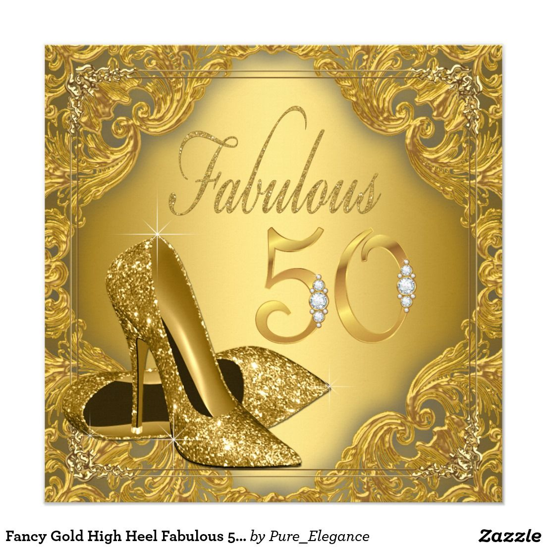Fancy Gold High Heel Fabulous 50th Birthday Invitation 50th
