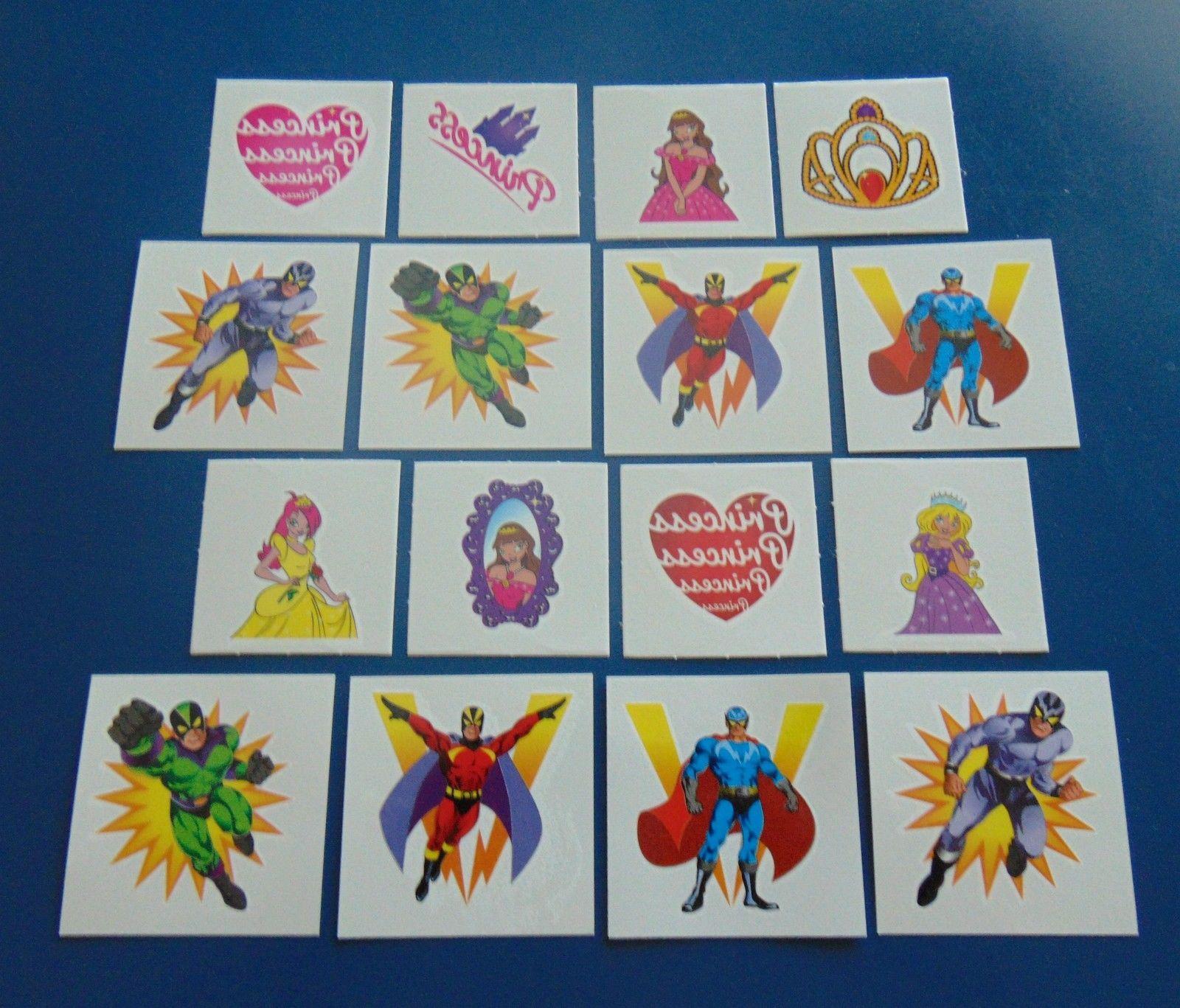 48 Childrens Super Hero Princess Temporary Tattoos Party BAG Filler