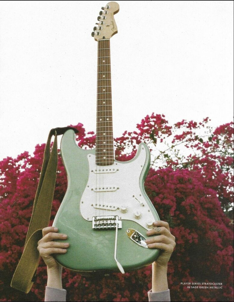 Fender Player Series Stratocaster guitar in Sage Green Metallic 8 x 11 ad print #Fender #fenderstratocaster