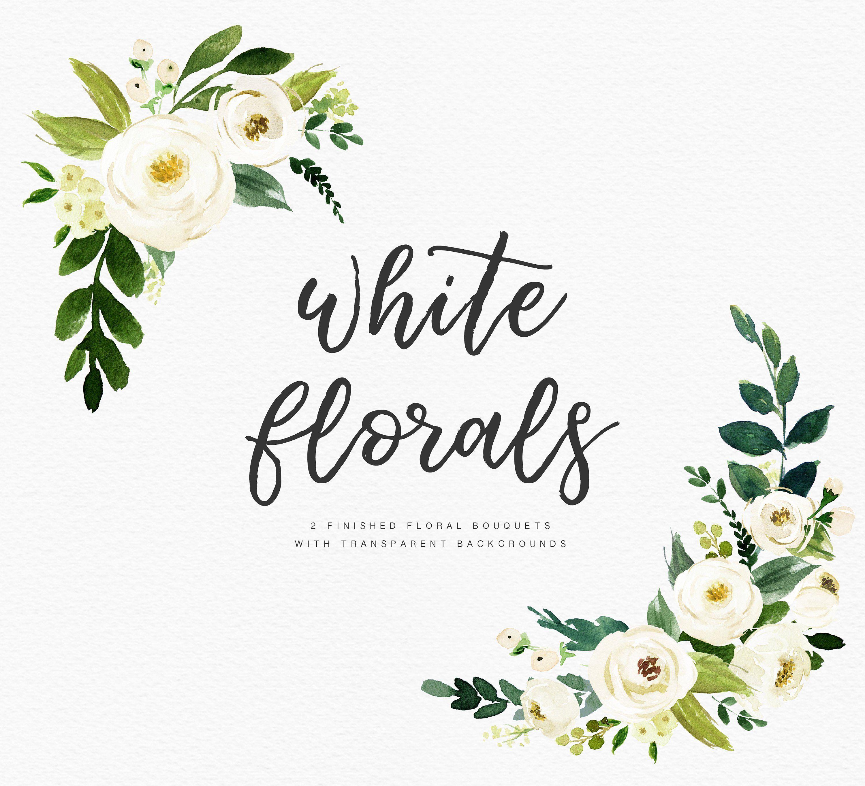 Watercolor Floral Clip Art White Flower Elements Small Set