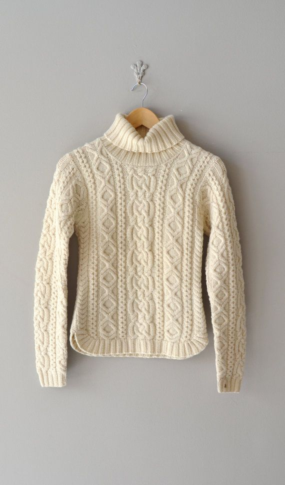 Cable knit sweater / fisherman\'s sweater / cream cable knit ...