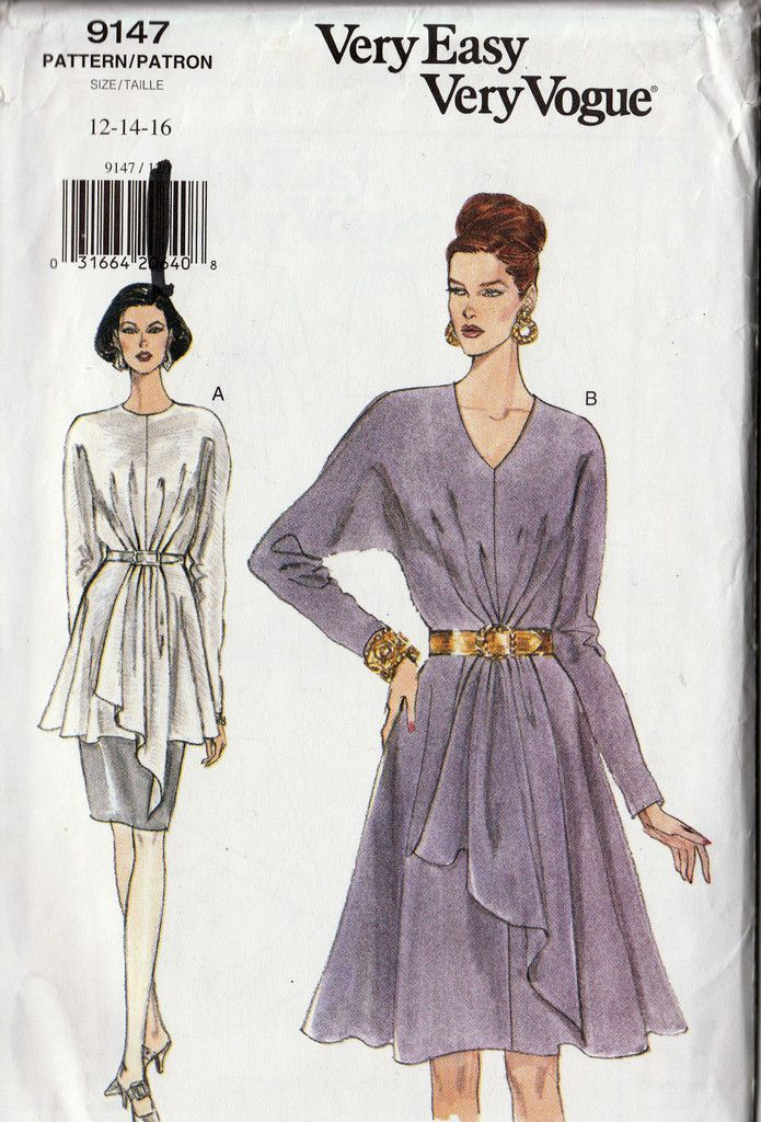 90s Women Flared Dress Tunic-Top Skirt Sewing Pattern Vogue 9147 ...