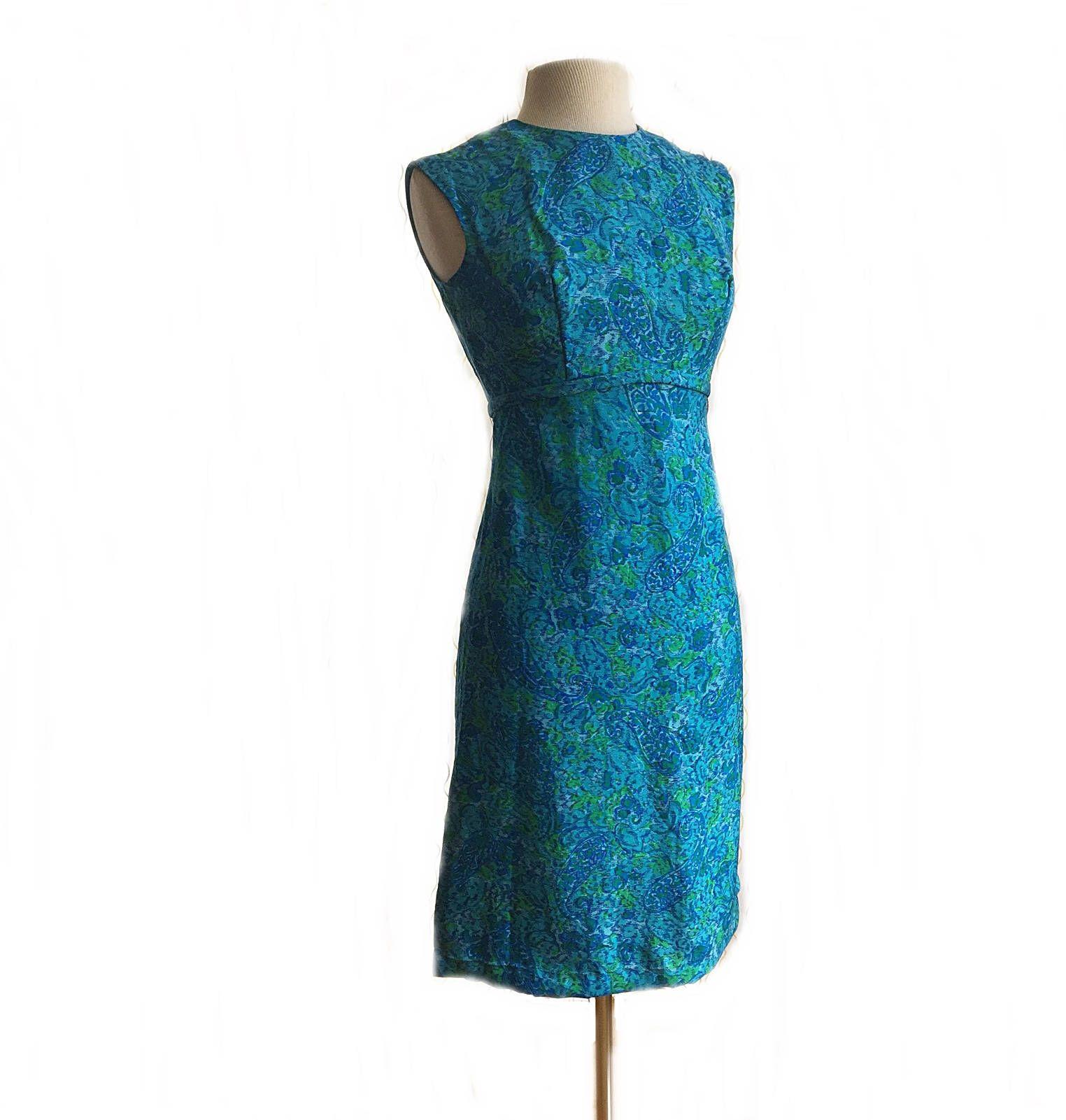Vintage 1960\'s aqua blue floral shift dress/ Monet\'s garden party ...