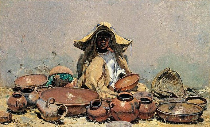 Frank Buchser - Moroccan dishes seller