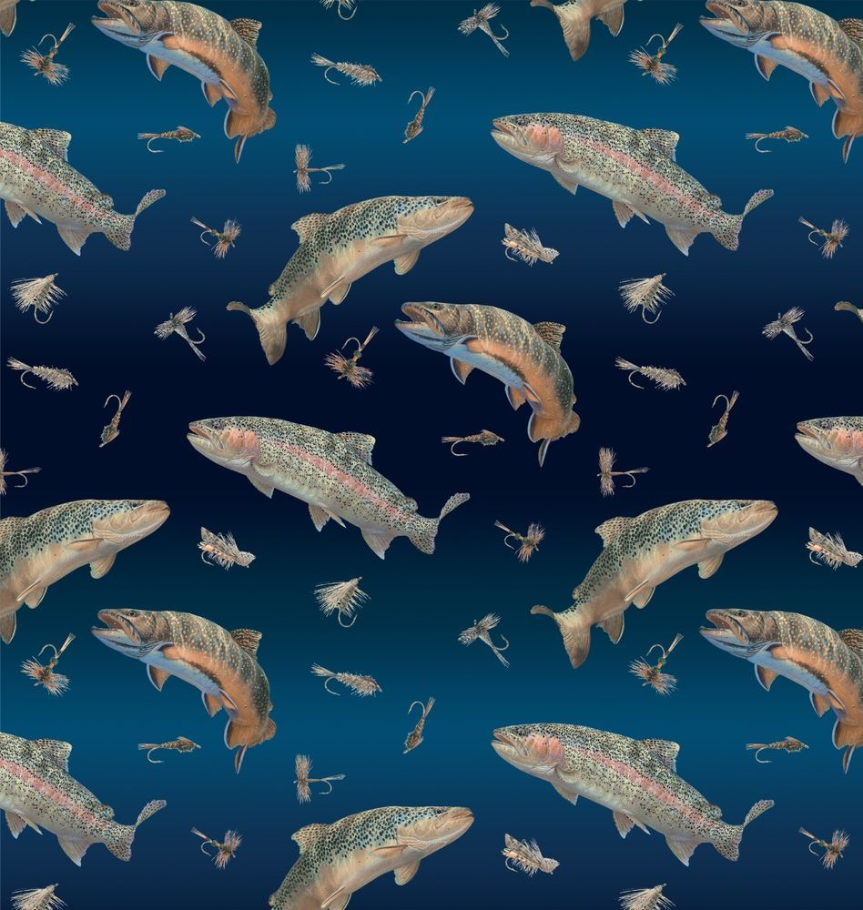 Swimming fish antipill fleece fabric by the yard sewing