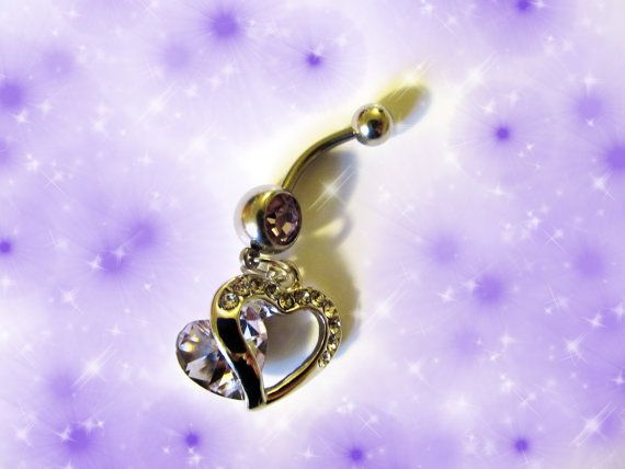 Valentines Day Belly Ring 18K White Gold Purple Amethyst Austrian