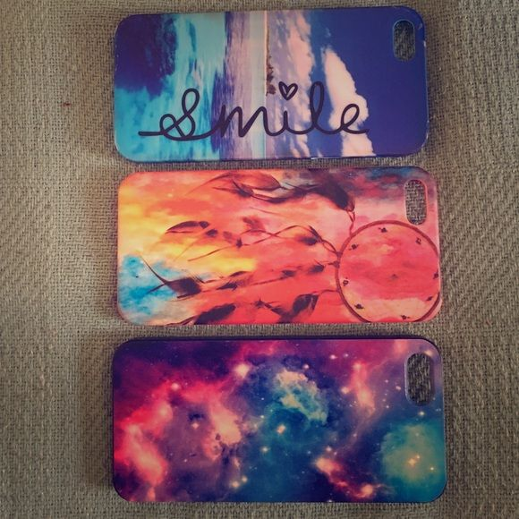3 iPhone 5s cases. 3 used iPhone 5s cases, still in great condition, only used once. Claire's Accessories Phone Cases