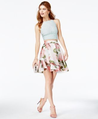 Speechless Juniors\' 2-Pc. Lace Floral-Print Dress | macys.com ...