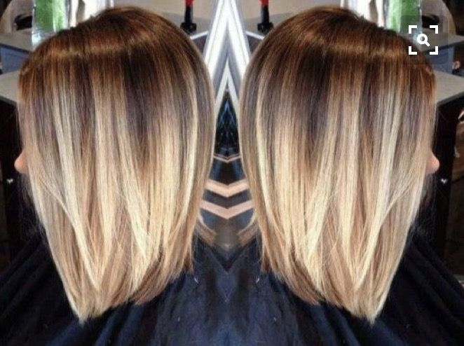 Ombre Brown To Blonde Shoulder Length Short Medium Haircut Hairstyle Ombre Hair Blonde Hair Styles Short Hair Styles