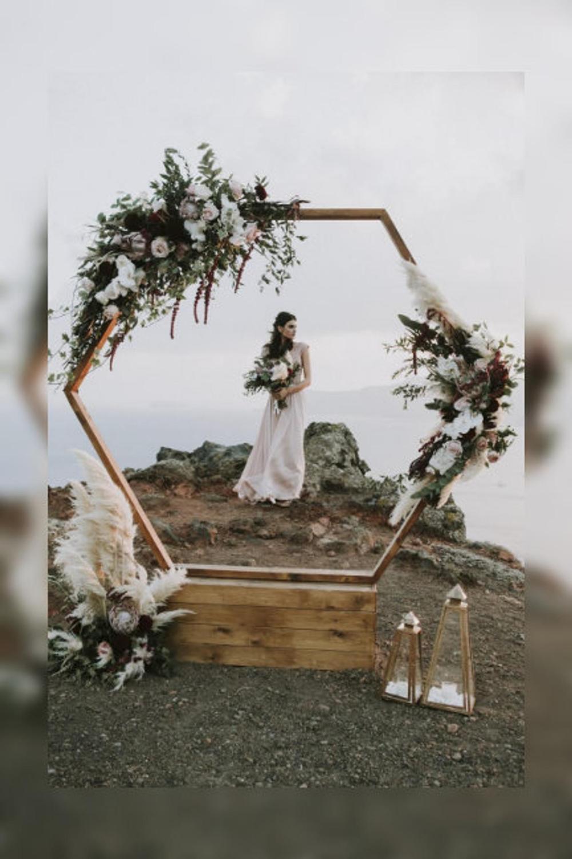 Hexagon Wooden Wedding Arch /Wedding Decor Natural