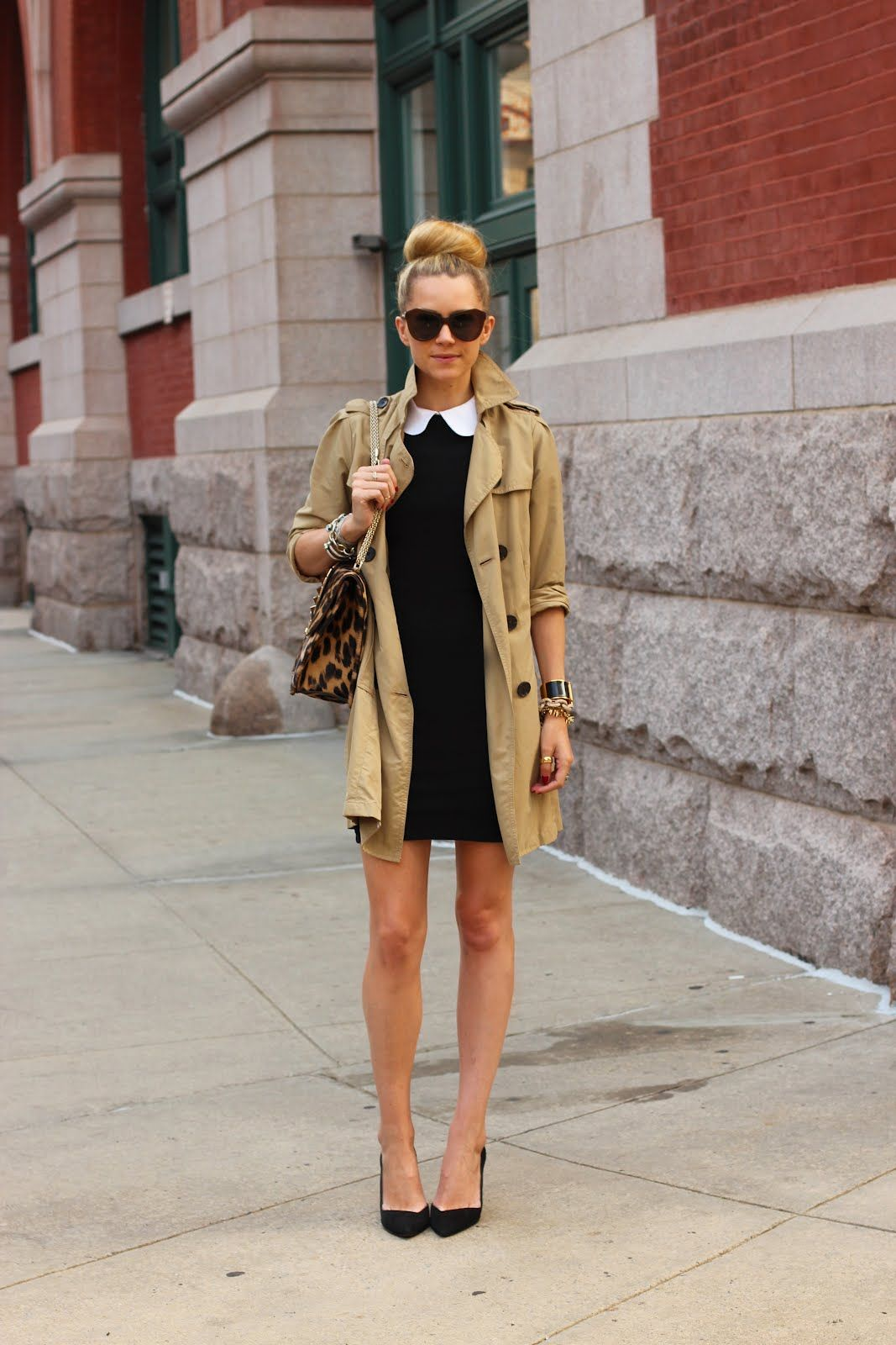 Perfect outfit: classic trench, black stilettos + LBD w/ collar