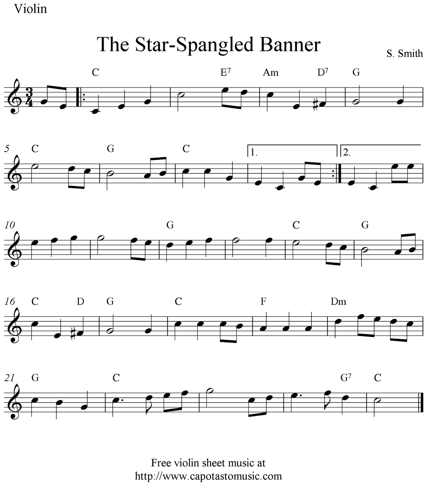 Sheet Music Violin The Star Spangled Banner Free Easy Violin Sheet Music Notes Sheet Music Notes Sheet Music Violin Sheet Music