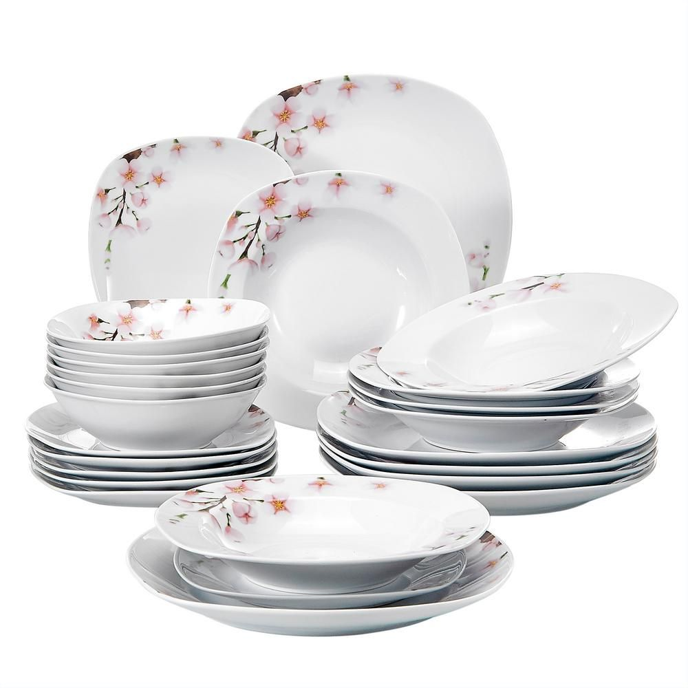 Veweet Annie 24 Piece Printed White Plates And Bowls Set