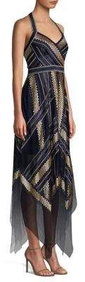 b3cfff33084 BCBGMAXAZRIA Metallic Striped Handkerchief Dress