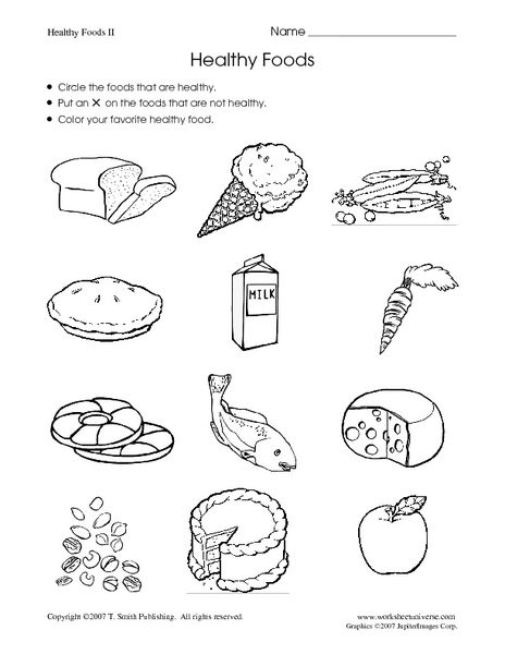 Healthy Foods Worksheet Healthy And Unhealthy Food Preschool Worksheets Worksheets For Kids