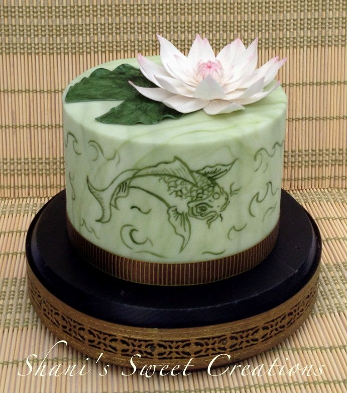 Lotus Garden Birthday Cake With Hand Painted Koi And A