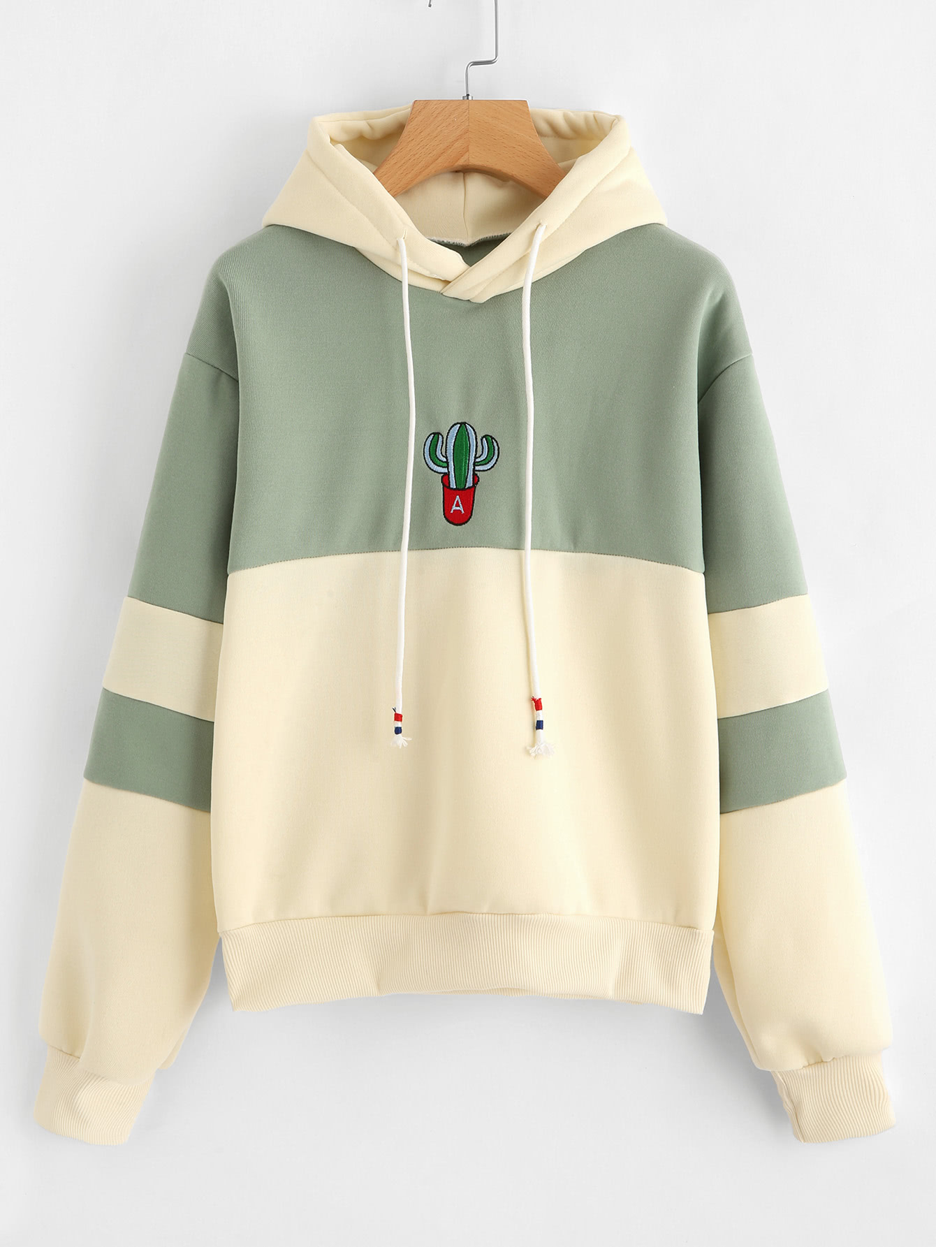 acbc05f4b1 Shop Cactus Embroidered Color Block Hoodie online. SheIn offers Cactus  Embroidered Color Block Hoodie   more to fit your fashionable needs.