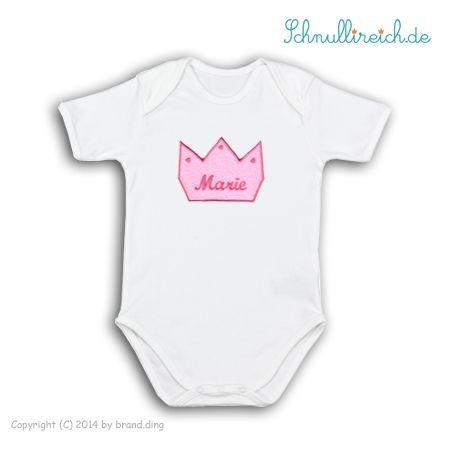 Baby Body Strampler Prinzessin mit Wunschname Krone Mädchen Geschenk Idee Geburt
