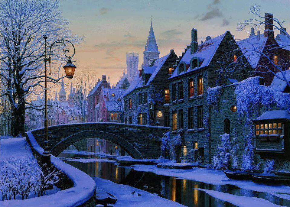Winter Evening In Brugge City Painting Winter Scenes Bruges