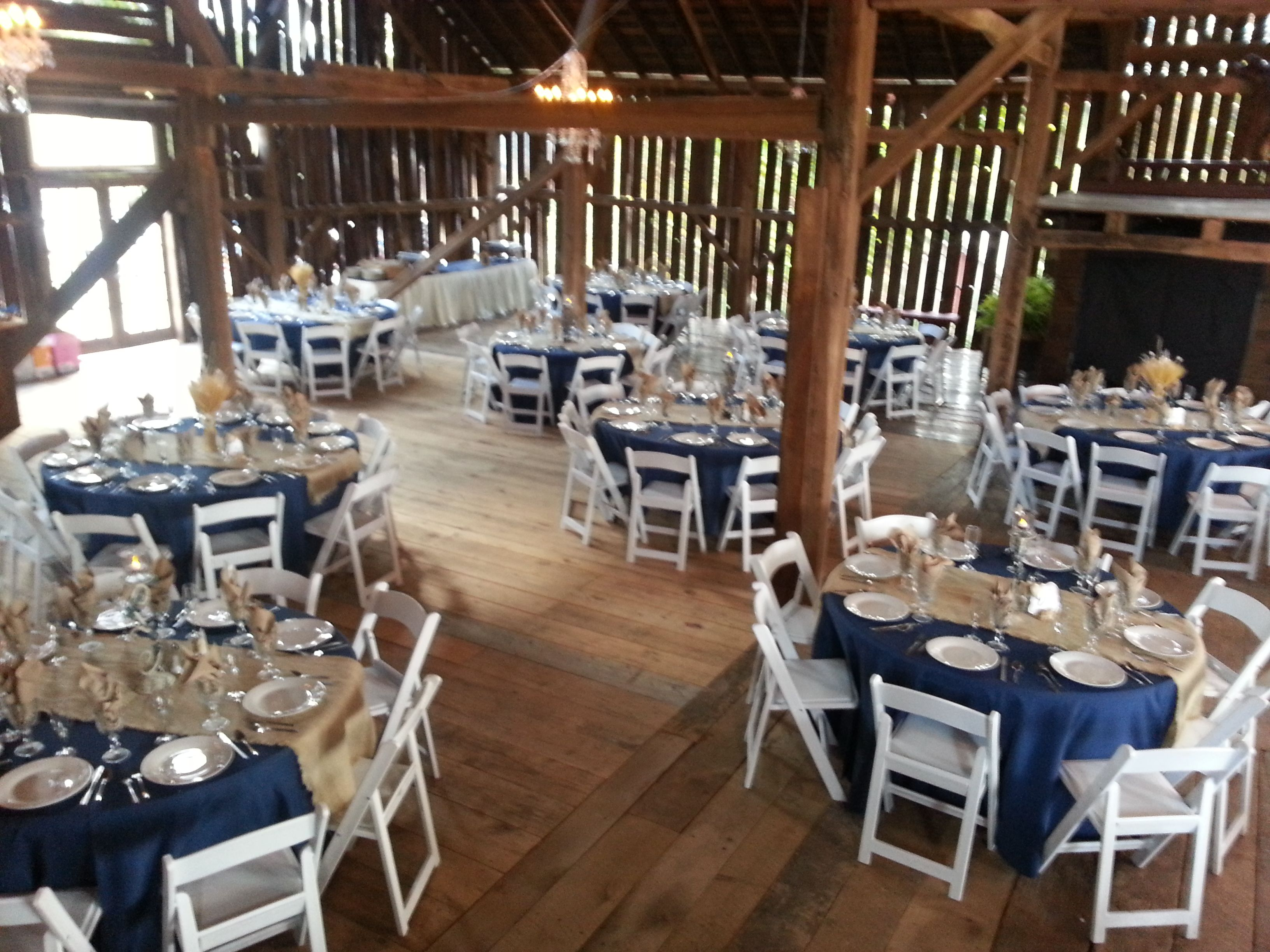 Down The Aisle Head Table Or Sweetheart Table: Looking Down From Head Table Navy And Burlap Fall Wedding