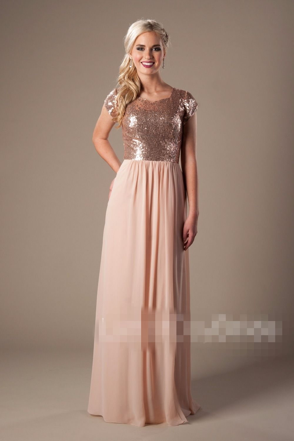 Rose Gold Chiffon Sequins Long Modest Bridesmaid Dresses 2017 Cap Sleeves Floor  Length Country Women Formal Wedding Party Dress-in Bridesmaid Dresses from  ... 62abbd5f3ba9