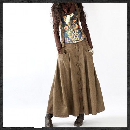 e160589a9d Graceful Woolen Removable Strap Long Skirt- NC218 | My Style in 2019 ...