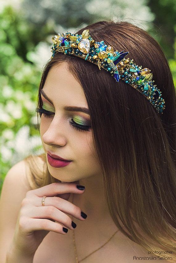 2f871b74a36 Turquoise tiara Bridal Crystal headband Gold blue wedding hair accessory  Baroque crown Jeweled headb