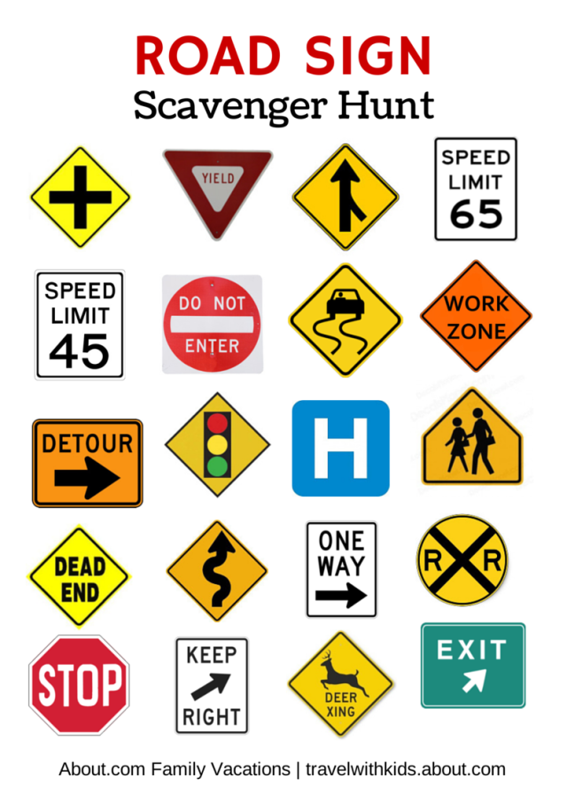 picture about Free Printable Road Signs named Cost-free Printable Push Game titles for Little ones Roadtrip Street family vacation