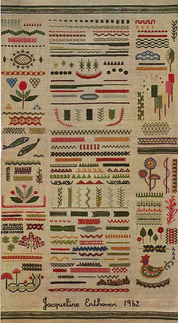 From the vintage 'Stiches of Creative Embroidery', by Jacqueline Enthoven, 1962. ~~, via Flickr