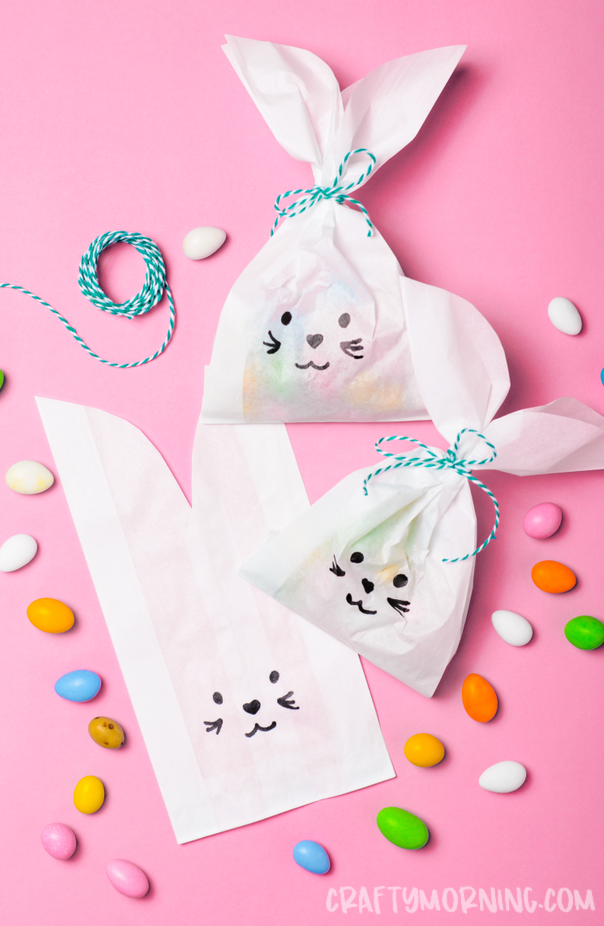 Easter Bunny Paper Treat Bags - Crafty Morning