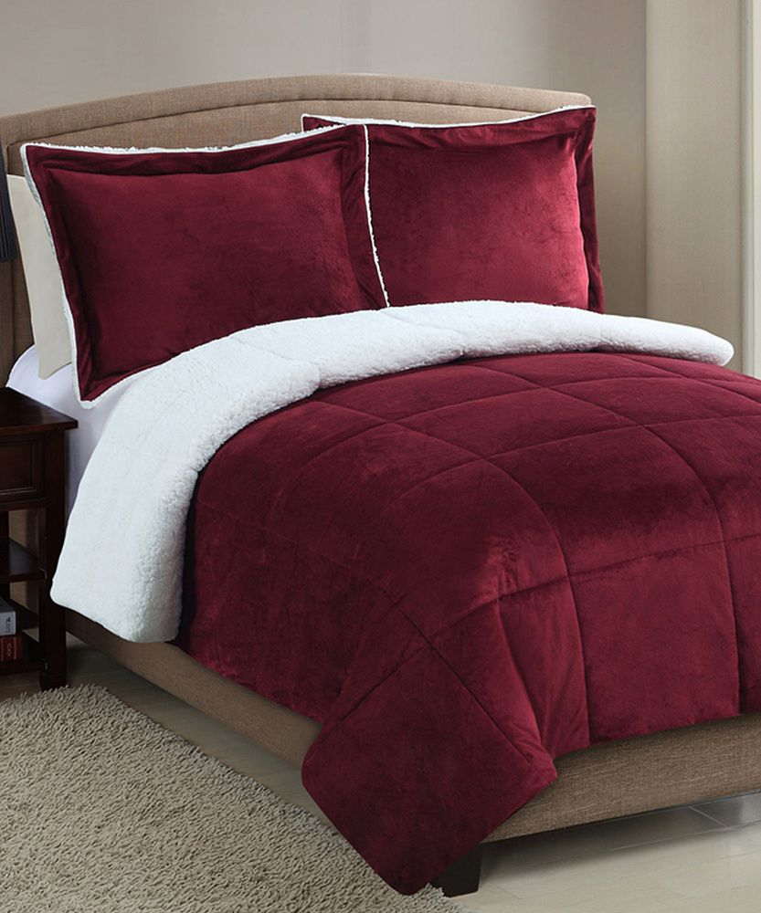 Bedset Red Micro Mink Faux Sherpa Comforter Set Queen