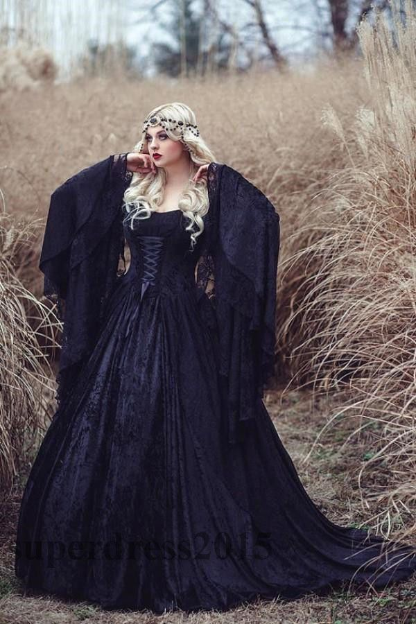 Gothic Black Lace Wedding Dresses Long Sleeved Lace up Back Medieval ...