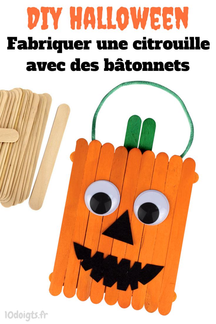 Pour Halloween, Fabriquez Une Petite Citrouille Rigolote Avec Des Bâtonnets  De Glace En Bois.