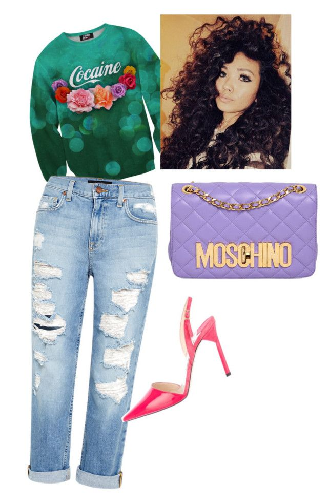 Untitled #17 by miss-pumpkin on Polyvore featuring polyvore fashion style Genetic Denim Jimmy Choo Moschino clothing