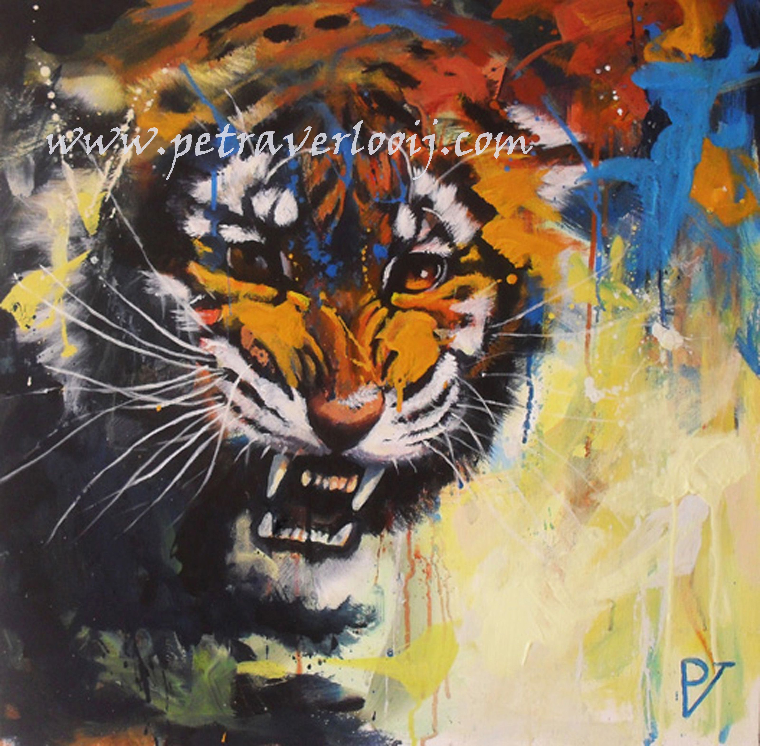 A contemporary painting of a very angry Bengal tiger 60/60 ...