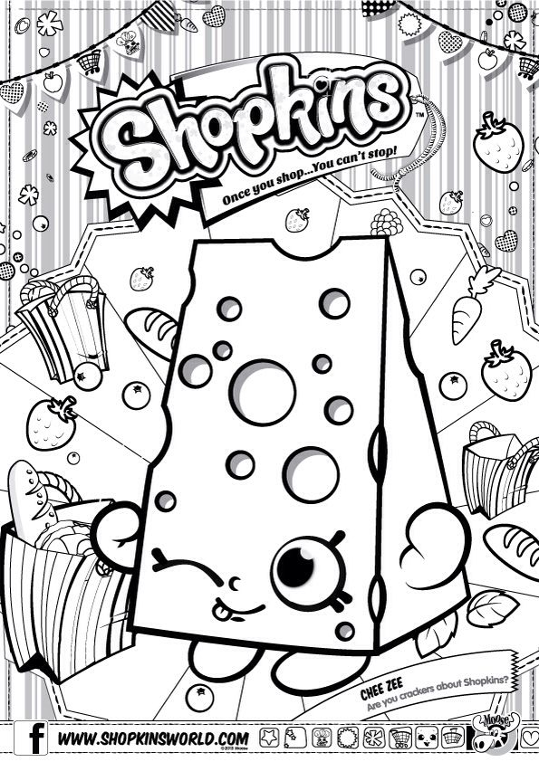Shopkins Colour Color Page Chee Zee ShopkinWorld | shopkins coloring ...