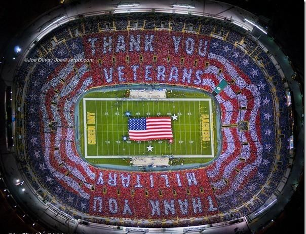 6ba837606 Veteran s Day tribute 2011 at Packers vs. Vikings Football game that nobody  got to see but the fans in the stadium.
