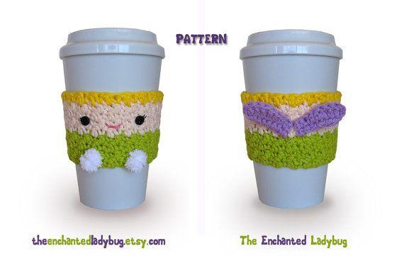 PDF PATTERN Crochet Tinkerbell Coffee Cup by TheEnchantedLadybug, $3.95