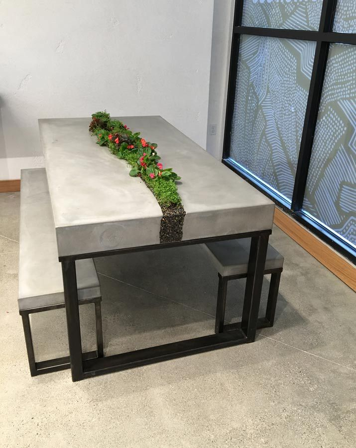Living Concrete Table Set Handcrafted Furniture Concrete Table
