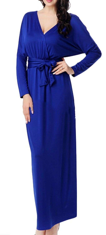 Ouxiuli womenus vneck longsleeved cotton maxi dress womens