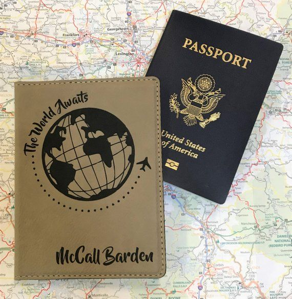 The World Awaits Passport Holder - Personalized Passport Holder - Travel Enthusiast Passport Gift- T