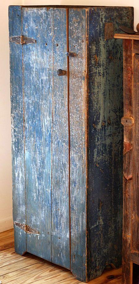 Circa 1870's Chimney Cupboard, original dark blue paint