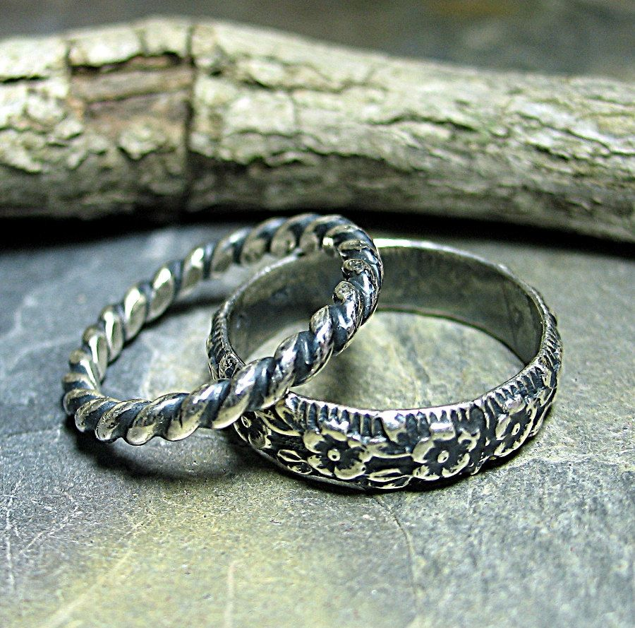 Sterling Silver Pattern Wire Stack Rings - Country Garden ...