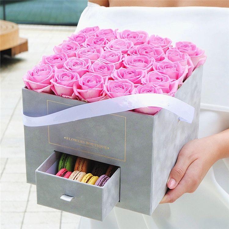Velvet Paper Solid Cardboard Square Flower Gifts Box With Small Drawer At Below Diseno De Caja Regalos Bonitos Arreglos Florales Creativos