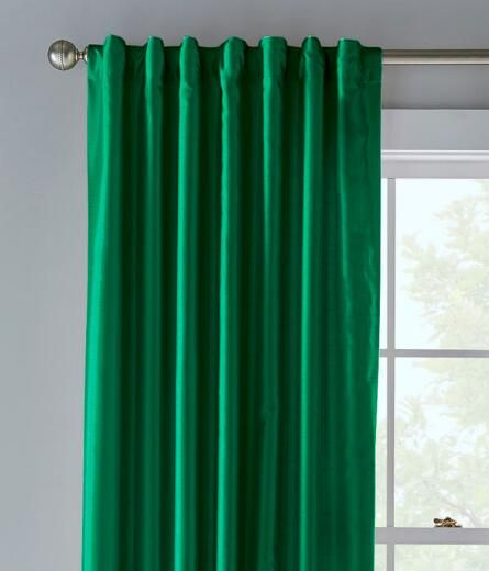Jasper Faux Silk Lined Back Tab Curtains Pair Emerald Green